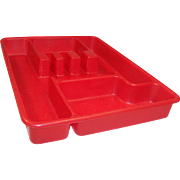 Red Lustro-Ware Utensil (Tableware) Tray