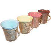 SET of 4: Mid-Century Melmac Raffiaware Burlap Insulated Coffee Mugs