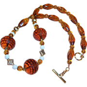 Honey Amber Glass Necklace
