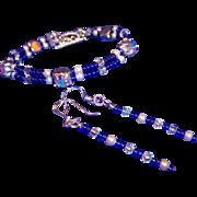 Feminine Cobalt Blue, AB Crystals, & Glass Pearls Bracelet /  Sterling Silver Earrings