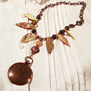 SALE Handcrafted Copper Pearl & Shell Asymmetrical Necklace
