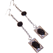 Extra Long Simulated Black Onyx Dangle Earrings