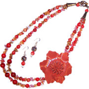 FUN! Leather Flower Power Tastefully Orange Necklace & Earrings Set