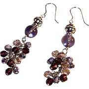 Sparkling Purple Crystals  Handcrafted  Sterling Silver Earrings