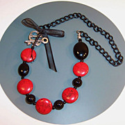 Black Accessorized Red  Howlite Lentil Necklace