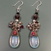 Feminine Sterling Silver  & Opalite Handcrafted Earrings ...ONE OF A KIND!