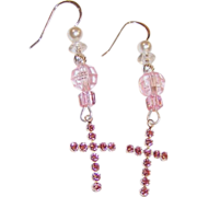 Swarovski Crystal Cross & Sterling Silver Earrings