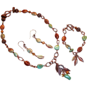 SOLD Earthy Turquoise Nugget & Terra Jasper Set: Earrings with Changeable Necklace, & Bracelet