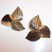 SALE Sarah Coventry  1969 GOLDEN TRILLIUM Earrings