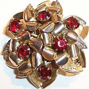 Signed Coro: Sparkling Deep Red Rhinestone Brooch / Pin