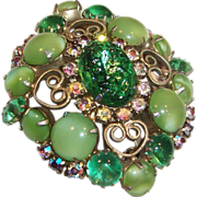 Green Art Glass & Aurora Borealis Brooch