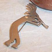 SALE Large Sterling Silver Kokopelli Pin