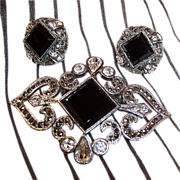 Monet Rhinestone & Marcasite Brooch & Earrings Set
