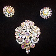 Cascading Aurora Borealis Marquise & Chaton Rhinestone Brooch & Earrings Demi Parure