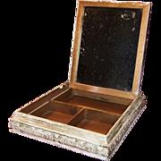SOLD Chippy White Mirrored Wooden Dresser Box