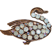 Weiss Antiqued Gold Swan Pin