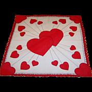 Rays of Hearts Vintage Valentine Hankie
