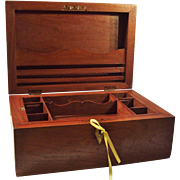 SOLD Large Wood Stationery / Documents Box with Brass Inlay & Key