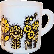 Vintage Milk Glass Mod Mug