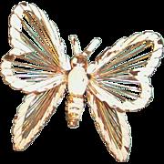 MONET White Enamel Butterfly Brooch