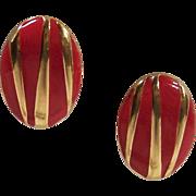 Vintage Monet Red & Gold Enamel Earrings