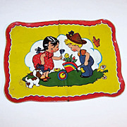 Ohio Art No. 173 Lithograph Tin Tray -- Girl Watering Can