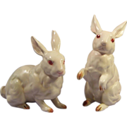 Vintage Pair of Vintage Lefton White Rabbit Figurines H880