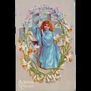 SOLD Antique Easter Greetings Cross & Angel German Postcard