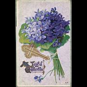 Antique Hydrangea Easter Postcard