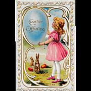 "Unused Antique 1910 E. Nash Embossed ""Easter Offering"" Fantasy Eggs & Rabbits Postca"