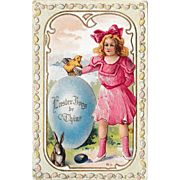 "Antique 1910 E. Nash Embossed ""Easter Joys"" Fantasy Postcard"