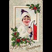 SALE 1911  Boy & Red Racer Sled Antique Christmas Postcard