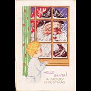 Vintage 1920's Christmas Postcard Santa Peeking in Window