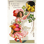 Antique Raphael Tuck & Sons Easter Postcard Lovely Brunette in Frilly Pink Dress