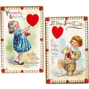 Set of 2:  Vintage 1911  Valentine Postcards