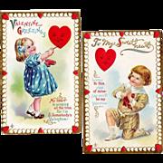Set of 2:  Vintage 1911  Valentine Postcards