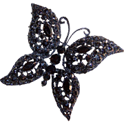 Vintage Japanned Jet Black Butterfly Brooch