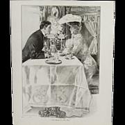 "Antique Henry Hutt Double Sided Lithograph Print:  ""Till Death Do Us Part"" & ""D"