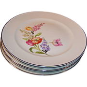 SALE Welcome Spring!  Pope Gosser China Flanders Dinner Plates  (Tulip, Poppy, Snapdragons)