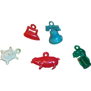 (5) Vintage Plastic Cracker Jack or Gum Ball Charm Prizes