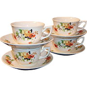 SET of 4: Homer Laughlin Poppy & Rose Kwaker Cups & Saucers