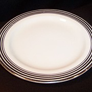 "Homer Laughlin Nautilus Platinum Bands 6 3/8"" Plate"