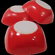 THREE 1950's Vintage Red Pyrex Square 12 oz. Bowls (No. 402)