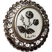 Hearts & Roses 800 Silver Brooch / Pendant