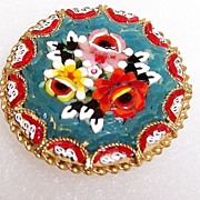 "Vintage  Signed 1 1/4"" Older Italian Micro Mosaic Rose Brooch"