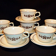 (6) Set of Six: Pfaltzgraff Village Pattern Cups & Saucers