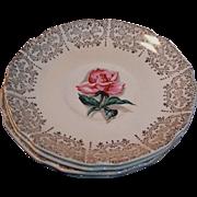 1950's Taylor Smith Taylor Pink Rhythm Rose & Filigree Saucers