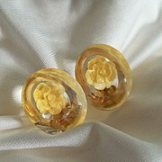 Yellow Rose Reverse Carved Lucite Earrings
