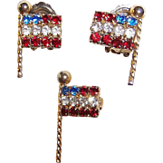 SALE Weiss Rhinestone Flags:  Brooch & Earrings Set