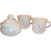 (2) Pfaltzgraff Tea Rose Cups (& Sugar Bowl)